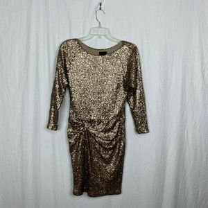 Greylin Champagne Gold Sequin Cocktail Dress- S